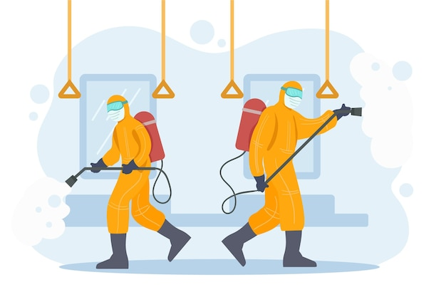 Workers providing disinfecting service in public spaces