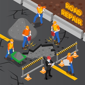 Workers repairing road isometric illustration