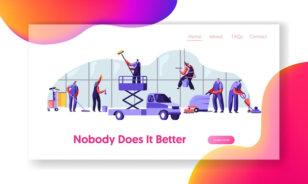 Workers in uniform with equipment cleaning room. website landing page template