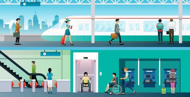 근로자는 장애인 용 엘리베이터가있는 전기 기차역을 사용합니다.