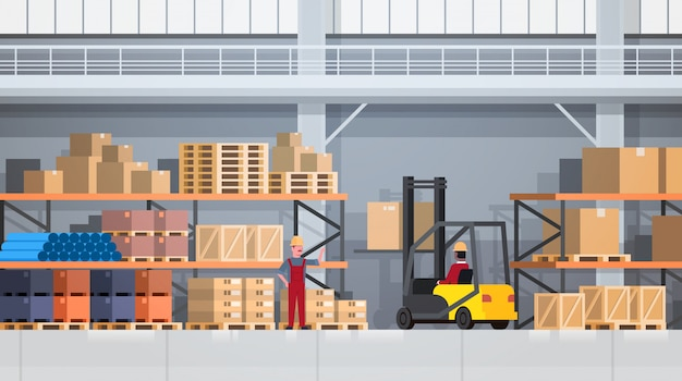 Workers of warehouse lifting box with forklift on rack. logistic delivery service concept