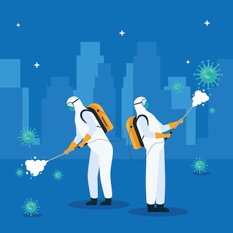 Workers wearing biohazard suit disinfecting on the city  illustration