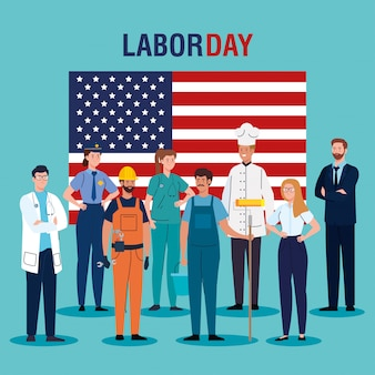 Workers with usa flag vector design