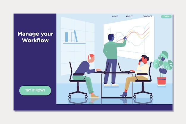 Workflow and business management. people work in a team and interact with graphs.