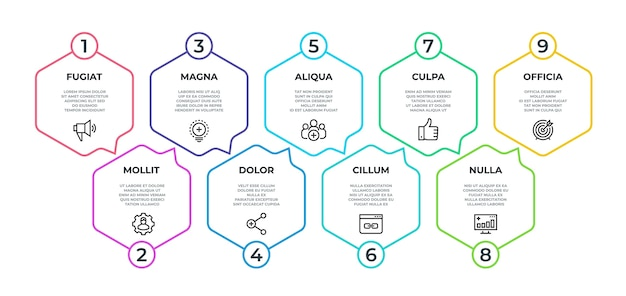 Workflow infographic. 9 step flow graphic, timeline minimalist hexagon banner