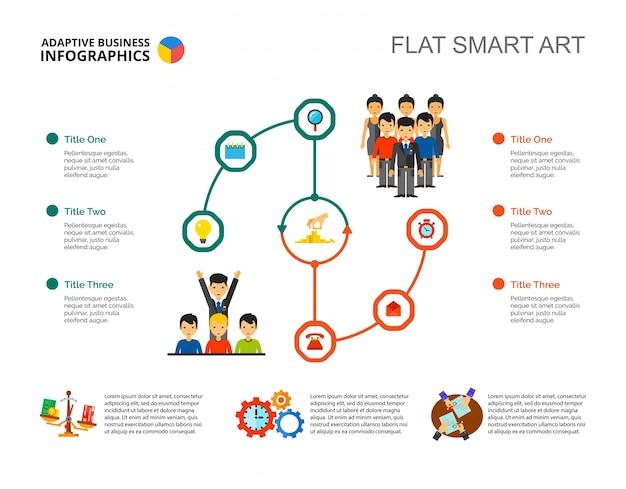 워크 플로 infographic 슬라이드 템플릿