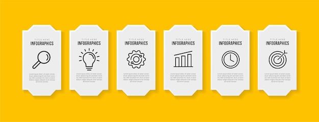 Дизайн шаблона инфографики рабочего процесса с 6 вариантами на желтом фоне