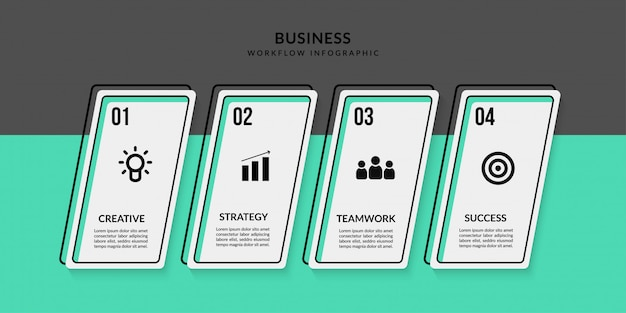 Workflow infographic with multiple options, outline data communication for business report