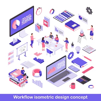 Workflow isometric vector illustrations set