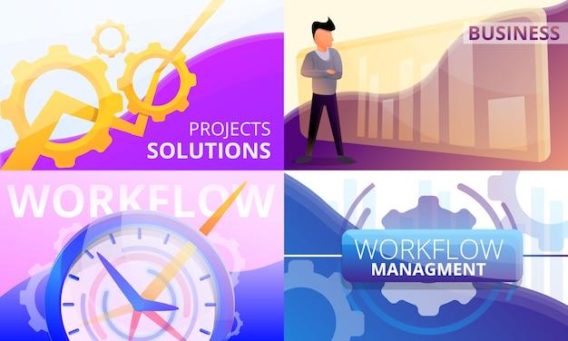 Workflow management illustration set. cartoon illustration of workflow management