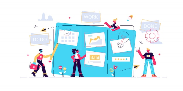 Workflow organization. office work and time management. kanban board, teamwork communication process, agile project management concept. isolated concept creative illustration