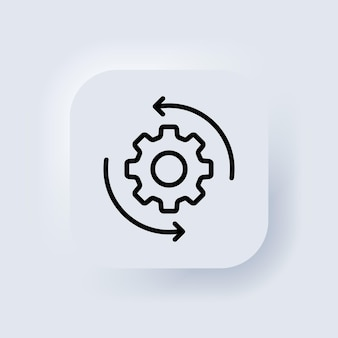 Workflow outline icon. gear icon. for mobile apps and web usage. neumorphic ui ux white user interface web button. neumorphism. vector eps 10. Premium Vector