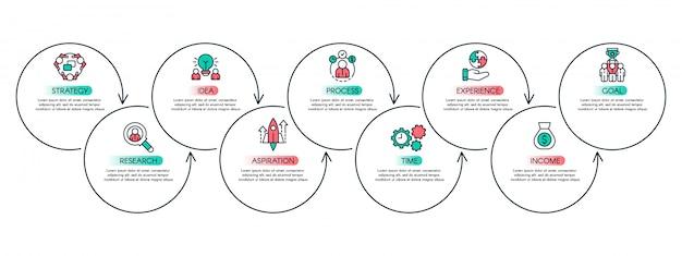 ワークフローステップチャート。生産性グラフ、ビジネスプロセスの手順、インフォグラフィックフローチャートのレイアウトの概念