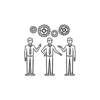 인력 손으로 그린 개요 낙서 아이콘입니다. 인력, 리더십, 인적 자원의 개념은 흰색 배경에 격리된 인쇄, 웹, 모바일 및 인포그래픽에 대한 그림을 스케치합니다.