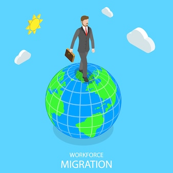 Workforce migration flat isometric