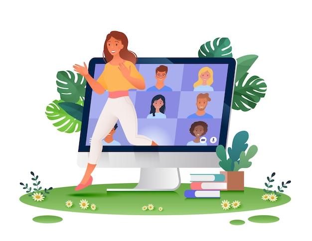 Работа и обучение в любом месте концептуальная иллюстрация с женщиной, выходящей из компьютера