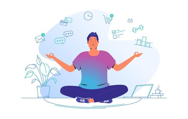 집에서 일하고 명상하기. 집에 연꽃 자세로 앉아 일하기 전에 집중하는 귀여운 남자의 플랫 라인 벡터 삽화. 흰색 배경에 고립 된 시간 관리 컨셉 디자인