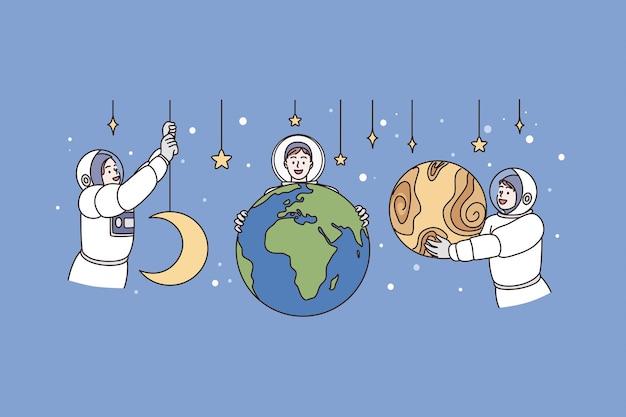 우주 비행사와 우주 개념으로 작업