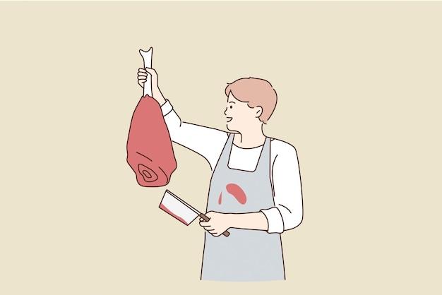 Работает мясником с концепцией мяса. молодой улыбающийся мясник в фартуке, стоя, держа в руках говяжью ногу для продажи векторные иллюстрации