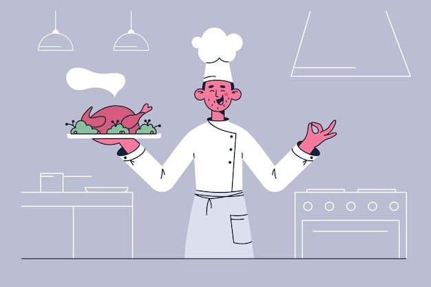 레스토랑 일러스트레이션에서 요리사로 일하기 프리미엄 벡터