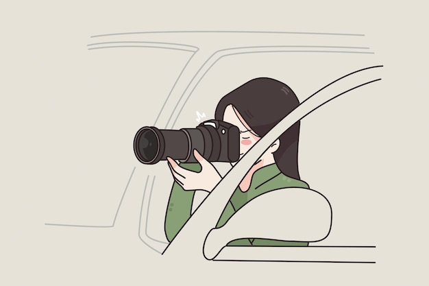 Working as detective of photographer concept