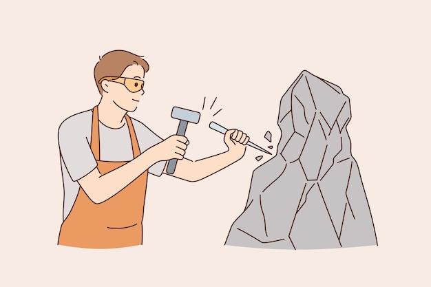 도구 개념으로 석재 절단기로 일합니다. 망치와 막대기를 사용하여 안경과 앞치마 벡터 일러스트레이션을 착용한 암석 콘크리트로 작업하는 긍정적인 젊은이