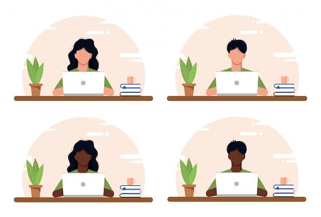 Работа на дому концепции, коворкинг пространство плоской иллюстрации. молодые люди, мужчины и женщины, фрилансеры, работающие у себя дома. домашний офис в кризисе ковид-19. плоский стиль самозанятая иллюстрация