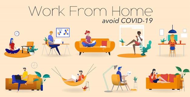 Работа на дому концепции, коворкинг пространство плоской иллюстрации. молодые люди, мужчины и женщины, фрилансеры, работающие у себя дома. домашний офис в кризисе ковид-19.