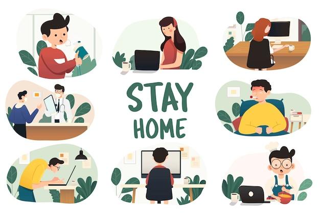 在宅勤務、概念図。自宅からラップトップやコンピューターに取り組んでいるフリーランスの人々。在宅勤務のキャラクターのフラットスタイルのイラスト。