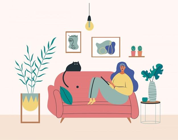 Работа на дому, коворкинг пространство, концепция иллюстрации. молодая девушка, женщина фрилансеров, работающих на ноутбуках и компьютерах на дому. люди дома в карантине. плоский стиль иллюстрации