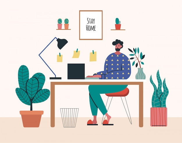 Работа на дому, коворкинг пространство, концепция иллюстрации. фрилансеры молодого человека работая на компьтер-книжках и компьютерах дома. люди дома в карантине. плоский стиль иллюстрации