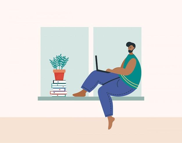 在宅勤務、コワーキングスペース、概念図。ラップトップや自宅のコンピューターに取り組んでいる若い男のフリーランサー。自宅で検疫している人。フラットスタイルの図