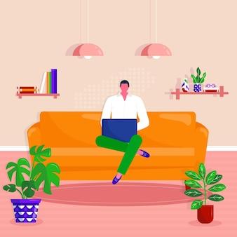 自宅での作業、コワーキングスペース。若い男は自宅のソファにノートパソコンを持って座っています。アパートでラップトップに取り組んでいるフリーランサー。ベクトルオンライン教育またはソーシャルメディアの概念図。