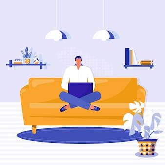 自宅での作業、コワーキングスペース。若い男は、自宅の黄色いソファにノートパソコンを持って座っています。アパートでラップトップに取り組んでいるフリーランサー。ベクトルオンライン教育またはソーシャルメディアの概念図。