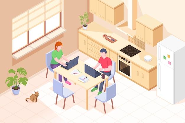 在宅勤務、フリーランサーのオンラインオフィス、キッチンでラップトップを持っているカップルの男性と女性、等尺性。オンライン在宅勤務、リモート従業員ビジネス、フリーランスの仕事と教育の概念
