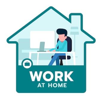 재택 근무 아이콘, 회사에서는 직원이 재택 근무를 할 수 있습니다. 코로나 바이러스 covid-19 일러스트 컨셉