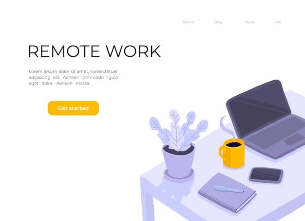 Работа в домашнем офисе. стол в номере, ноутбук, ноутбук, цветок в горшке, смартфон и чашка кофе.