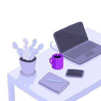 ホームオフィスで働いています。部屋の机、ラプター、ノート、鉢植えの花