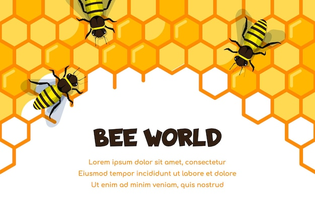 蜂蜜で満たされたハニカム上の作業蜂。有機蜂蜜テンプレート