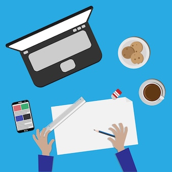 Working brainstorming with laptop handphone