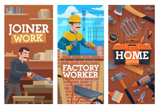 Working builder and joiner, construction and home repair tools banners. bricklayer laying bricks with trowel, joiner or carpenter in workshop, cutting wooden board with saw, construction tools