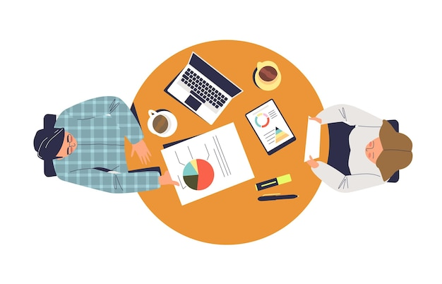 Working business process with two colleagues sitting together illustration