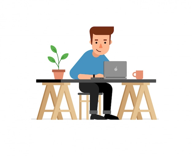 Working businessman character illustration
