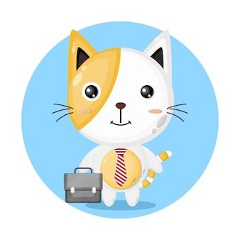 Working cat cute character logo