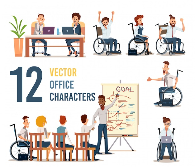 Working company employees characters set