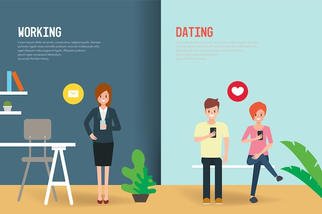 Working and dating people lifestyle scene.