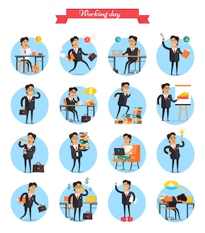 Working day busy template vector collection. man work hard during day, earns money, present charts, have lunch, get ideas, win and exhausted dreams about holidays on tropical beach.