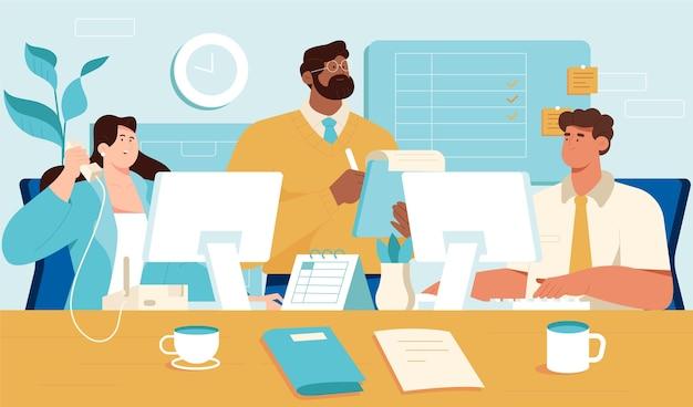 Сцена рабочего дня с коллегами