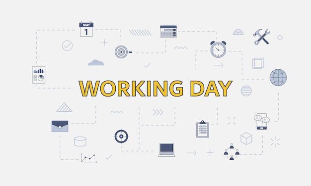 Концепция рабочих дней с набором иконок с большим словом или текстом на центральной векторной иллюстрации