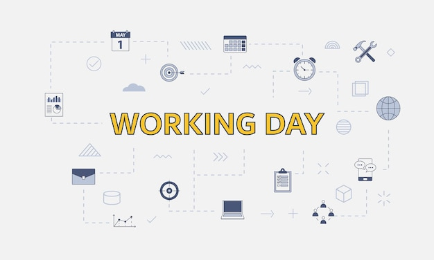 Working days concept with icon set with big word or text on center vector illustration